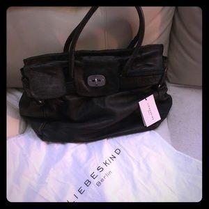 NEW Liebeskind black distressed leather handbag